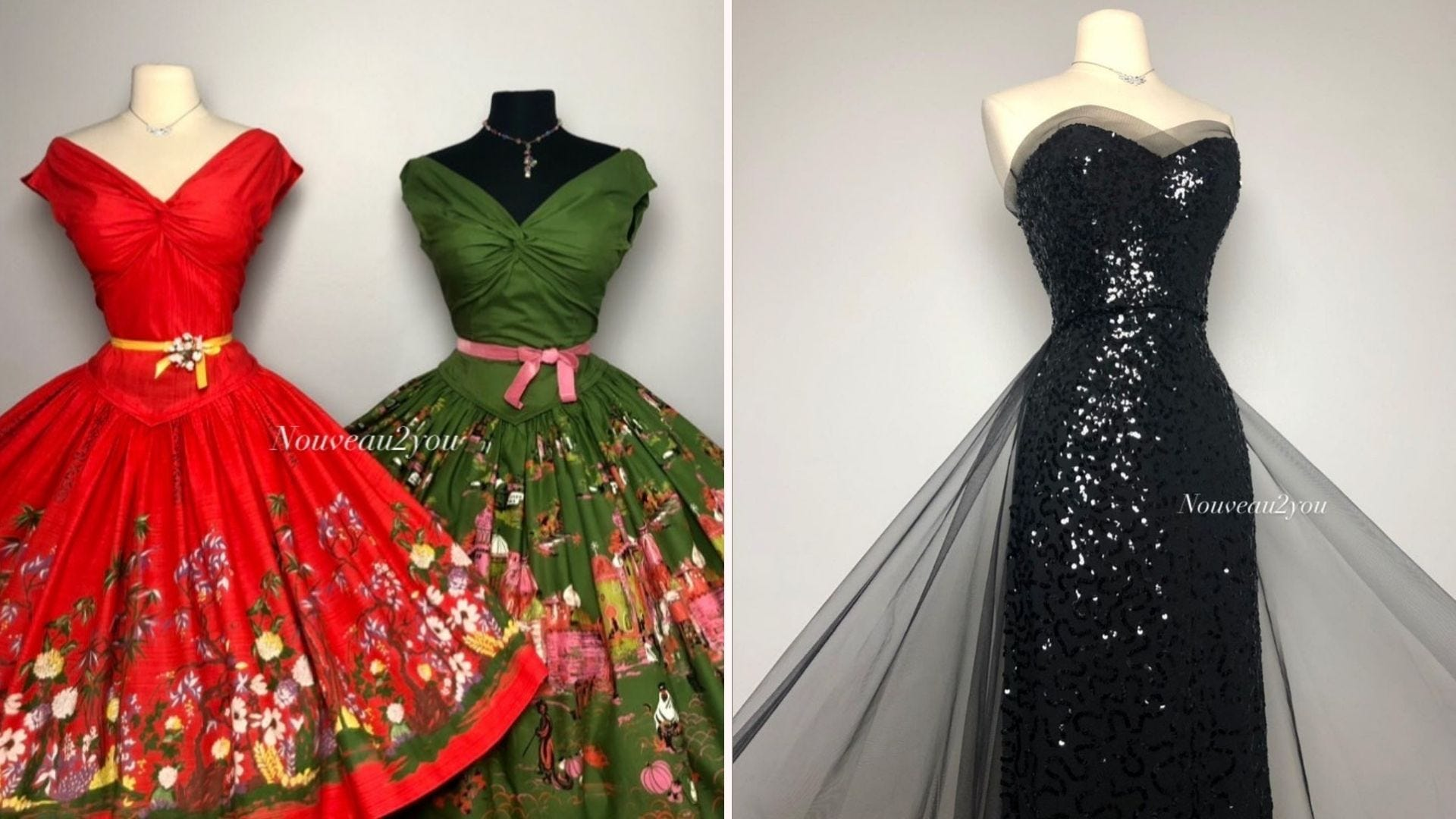 Mannequins with a red dress with floral skirt; a green dress with a floral skirt; a black sequined strapless gown