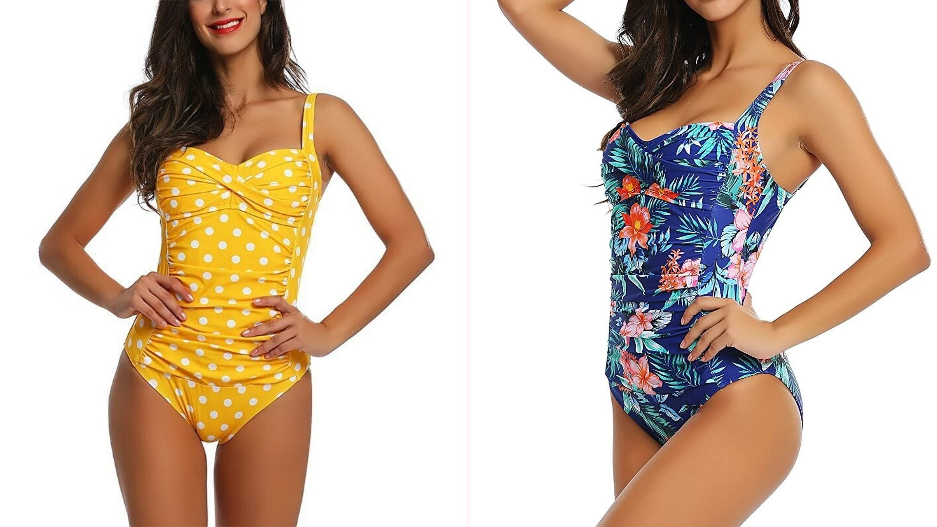 A woman in a yellow polka dot one-piece swimsuit; a woman in a blue floral swimsuit