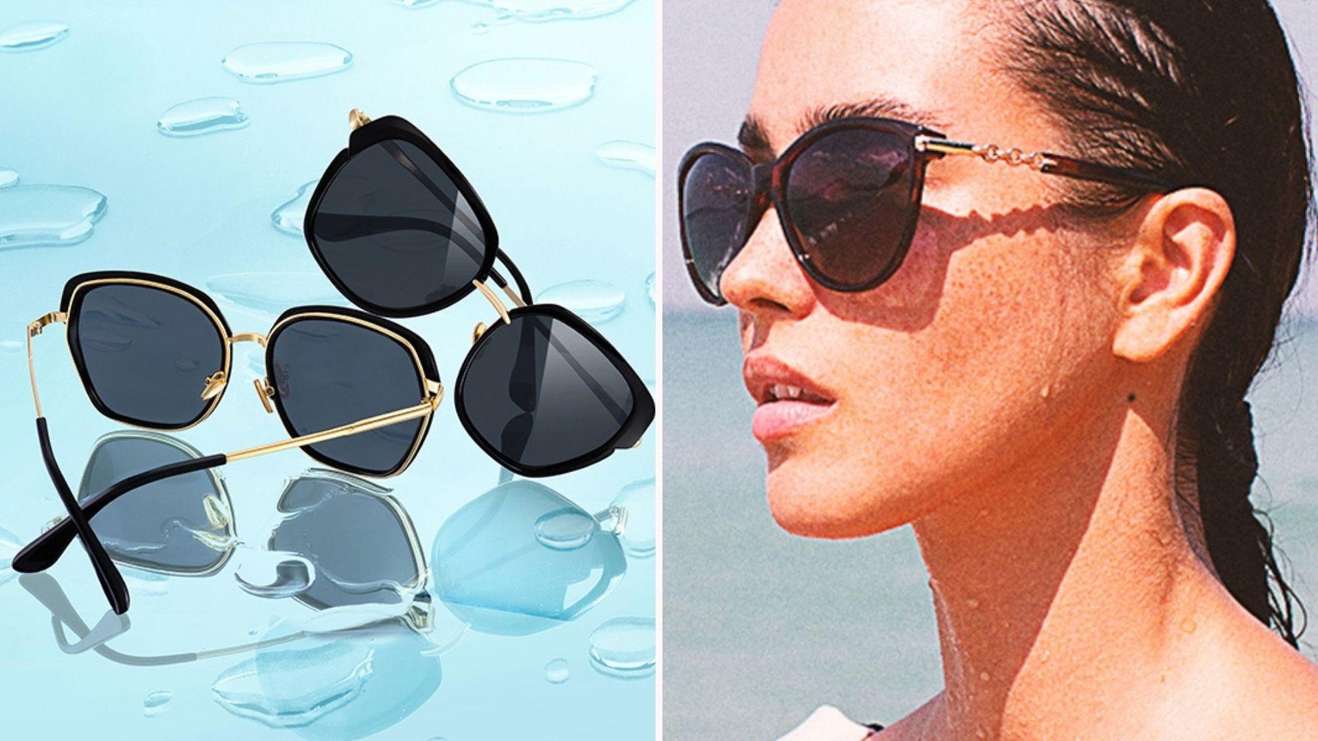 Shield-shaped sunglasses on a blue surface; a woman wearing sunglasses