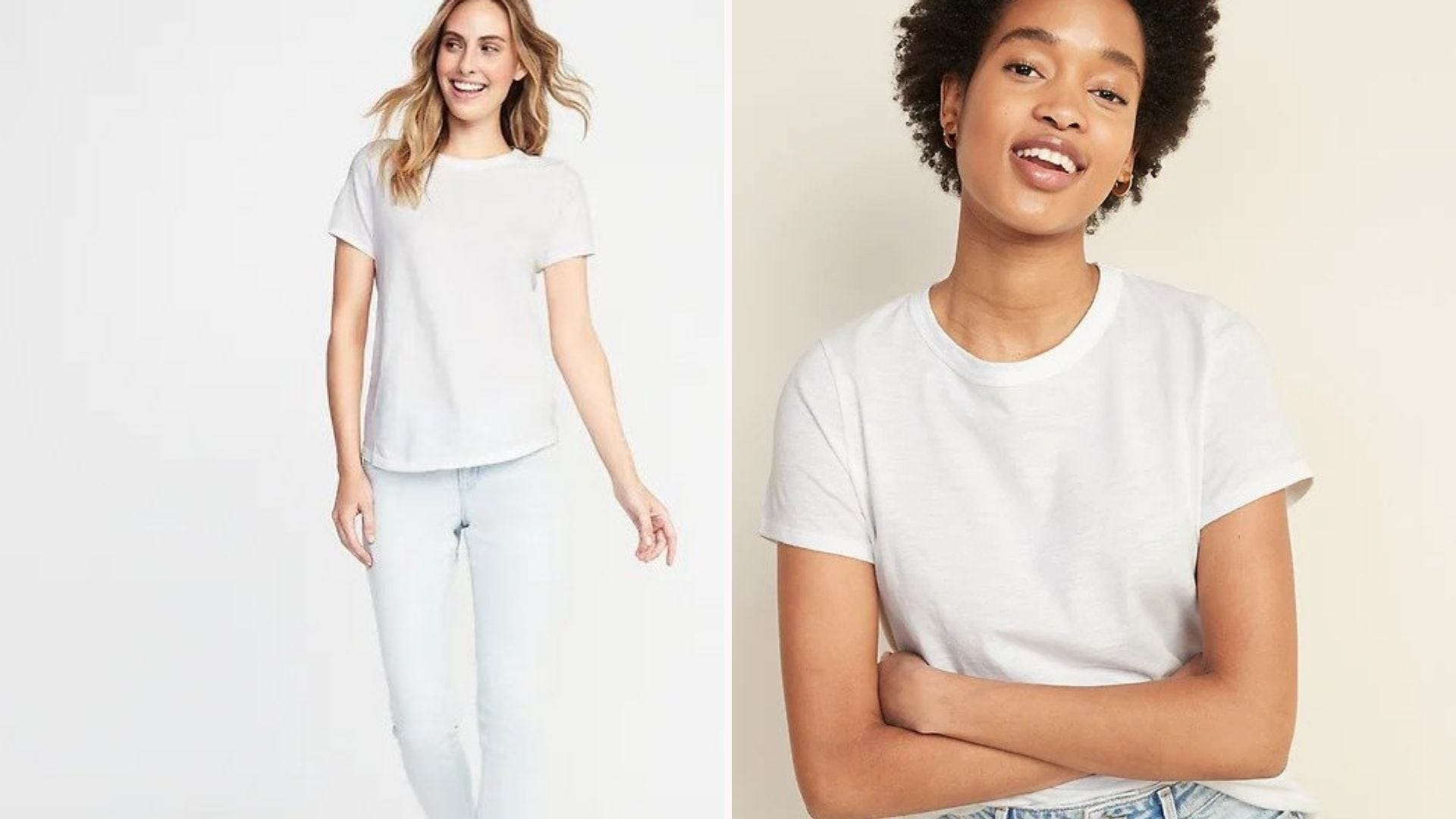 A white blonde woman in a white tee and pale jeans; a Black woman in a white tee and jeans