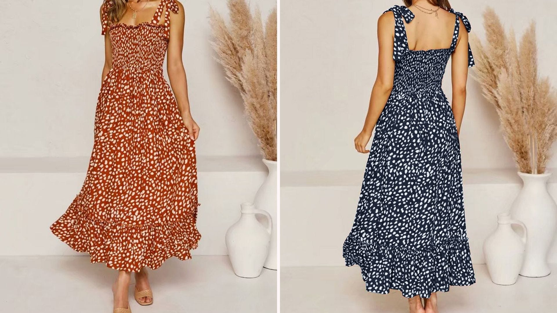 A woman in a red polka dot maxi dress; back view of a woman in a blue polka dot maxi dress