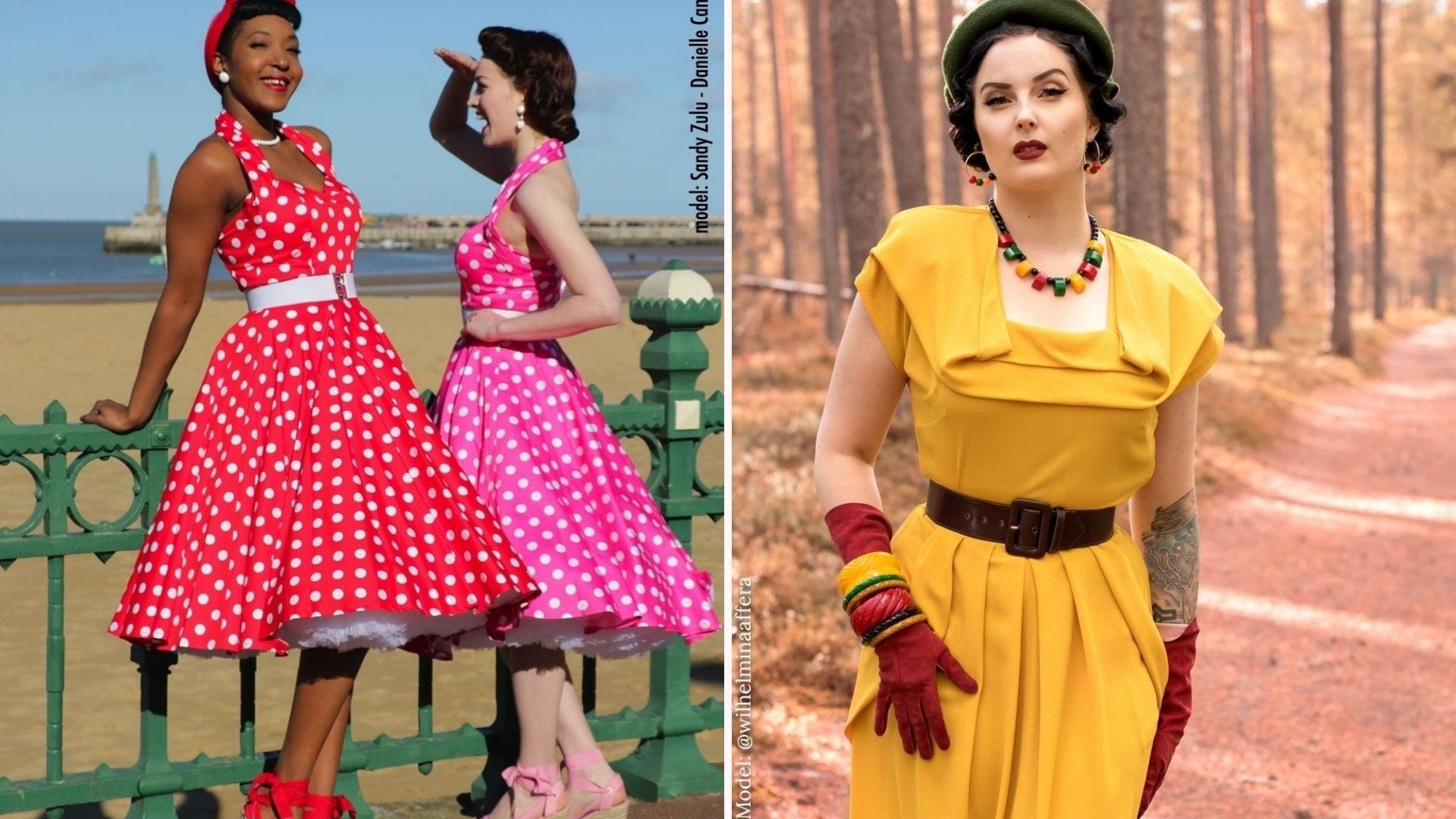 Two women in colorful polka dot halter dresses; a woman in a yellow dress and red gloves