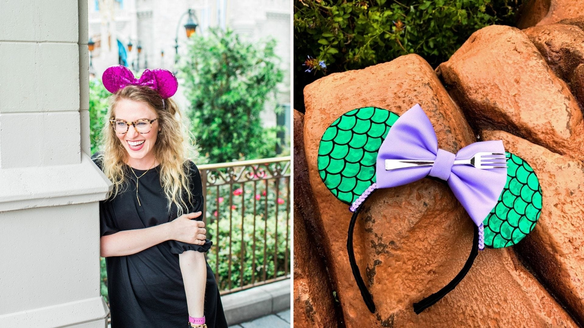 A woman in a black dress wearing fuschia Minnie Mouse ears; a pair of Disney mouse ears themed like The Little Mermaid