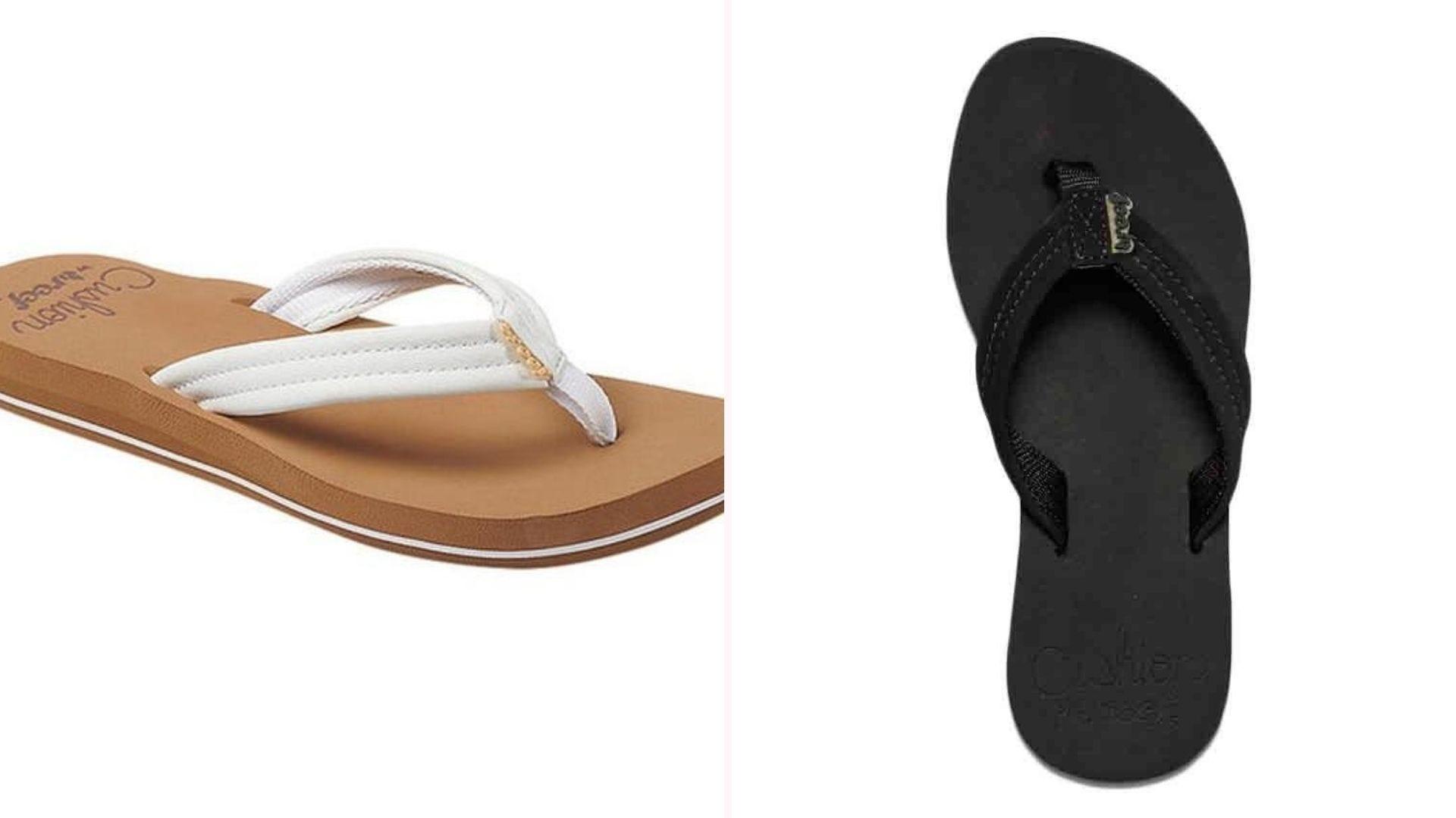One tan-and-white sandal, one black sandal
