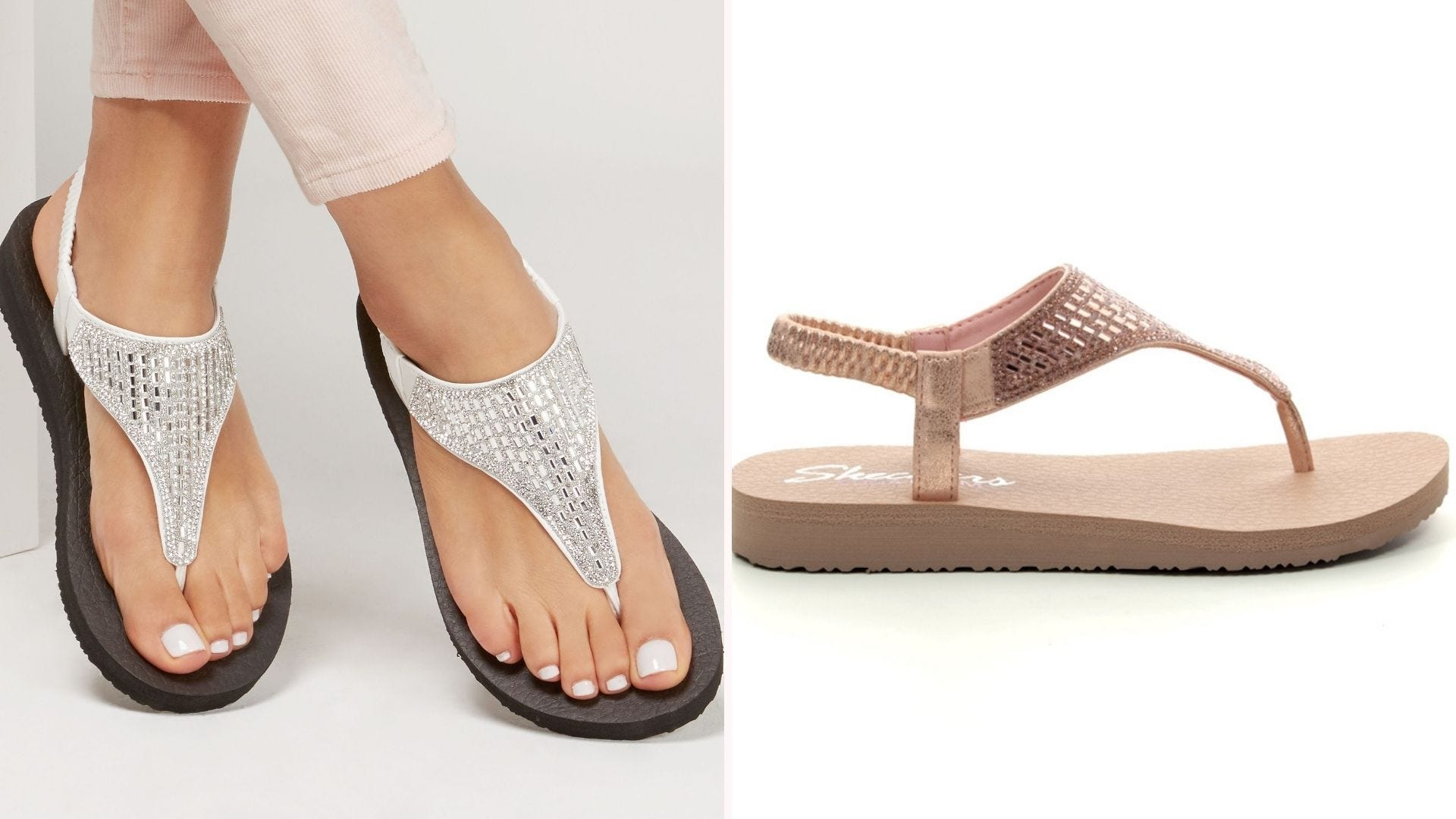 A woman wearing silver sandals; a rose-gold sandal seen from the side