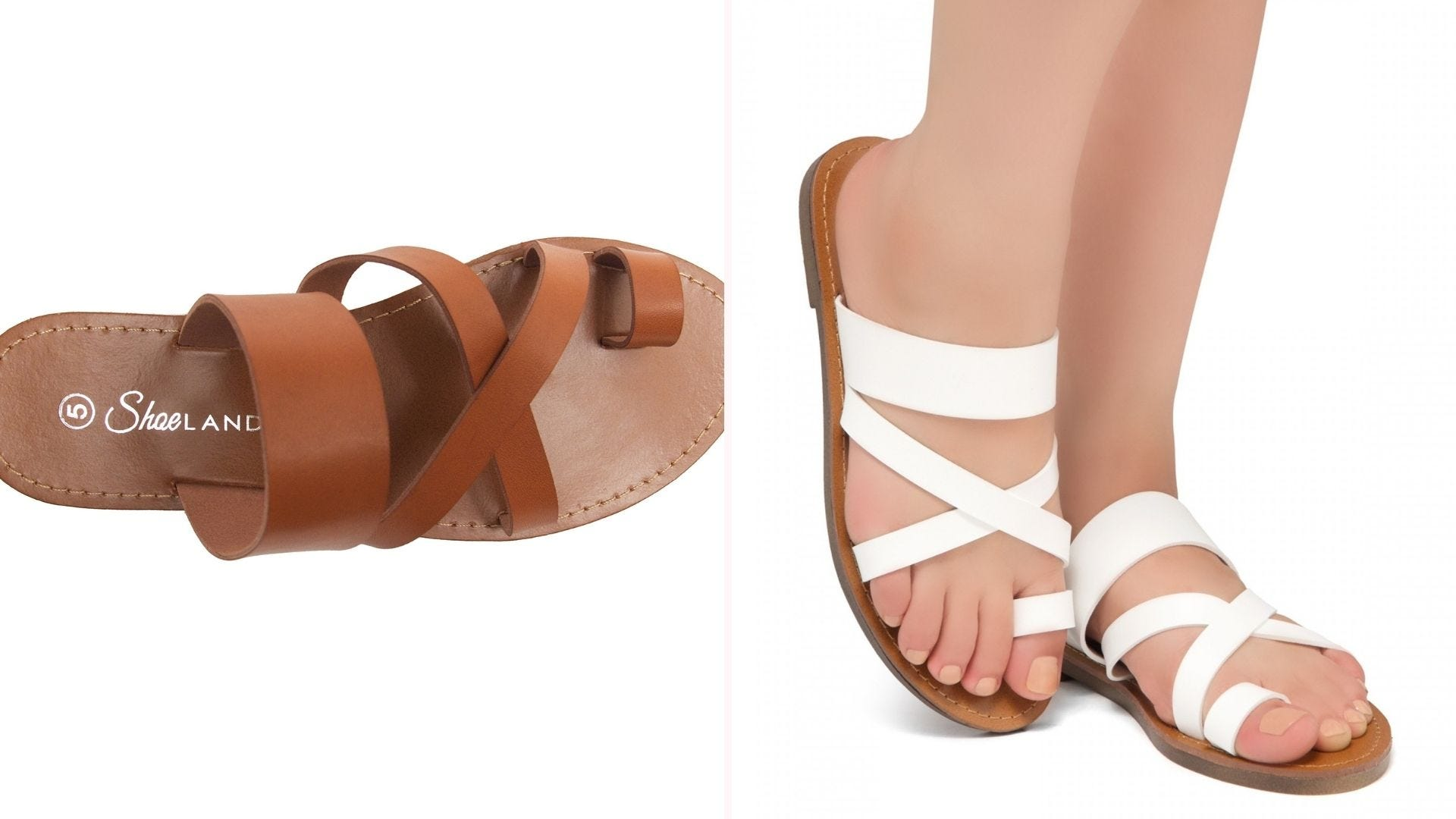 A cognac-colored sandal seen from above; a pair of feet wearing white sandals