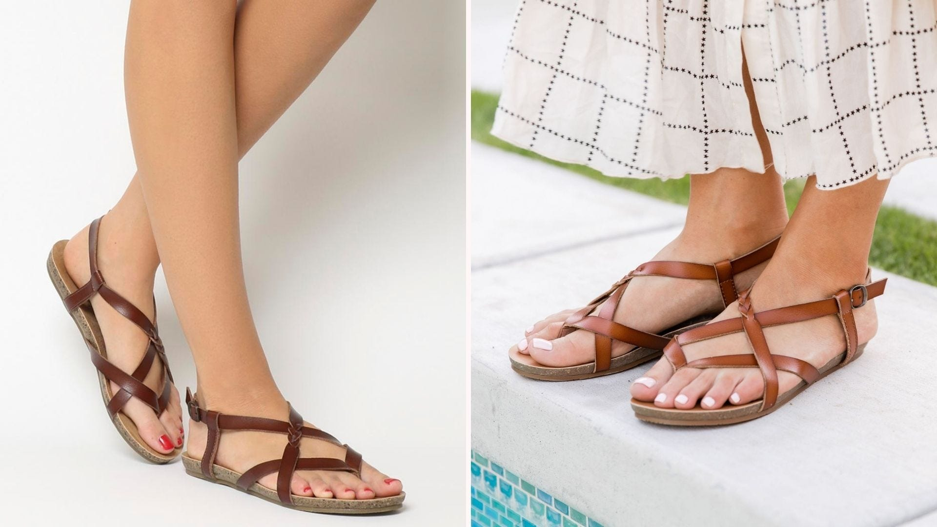 A pair of feet wearing brown strappy sandals; a woman in a skirt wearing brown strappy sandals