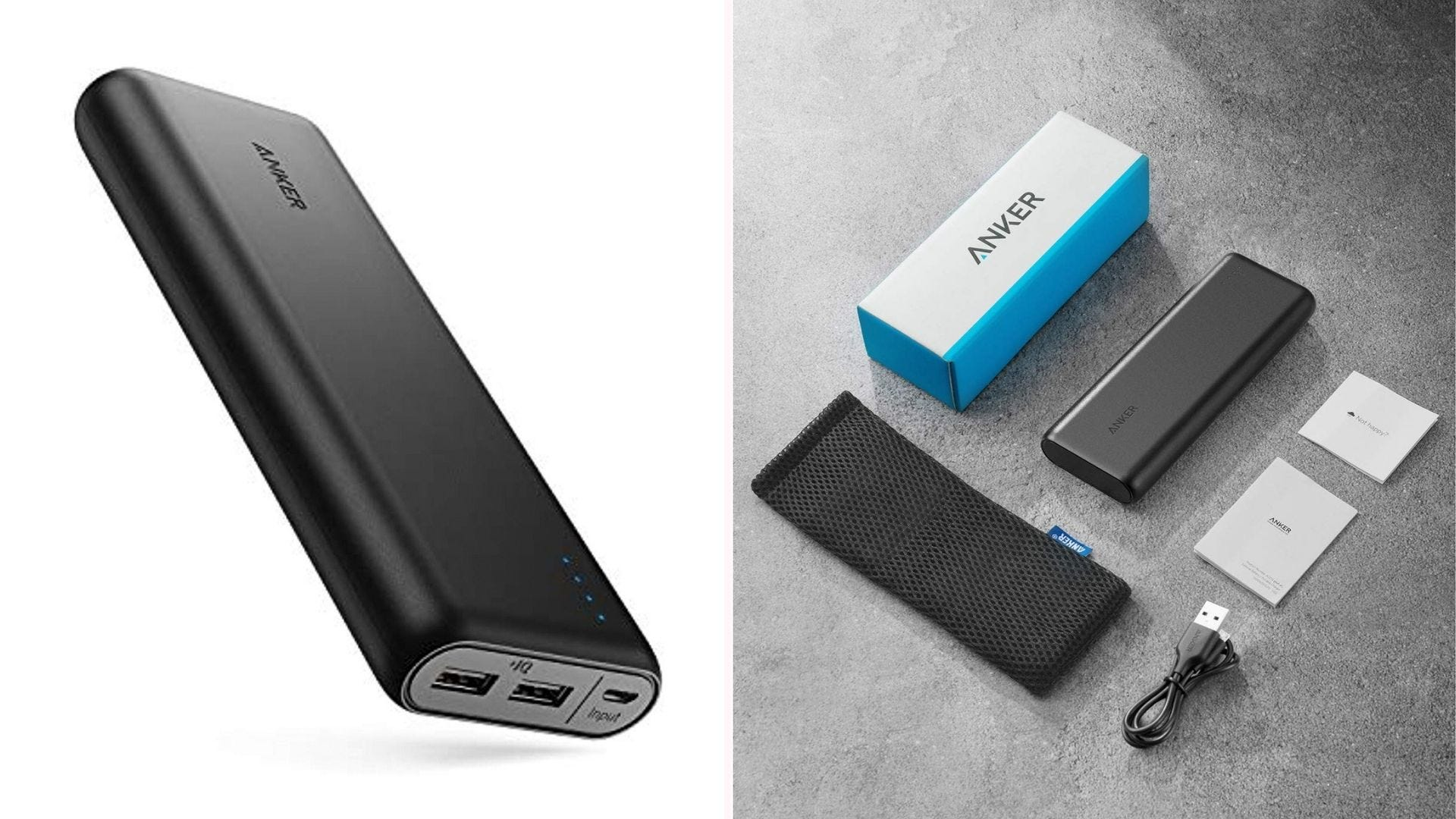 On the left a portable Anker charger and on the right the charger next to a travel case and other accessories.