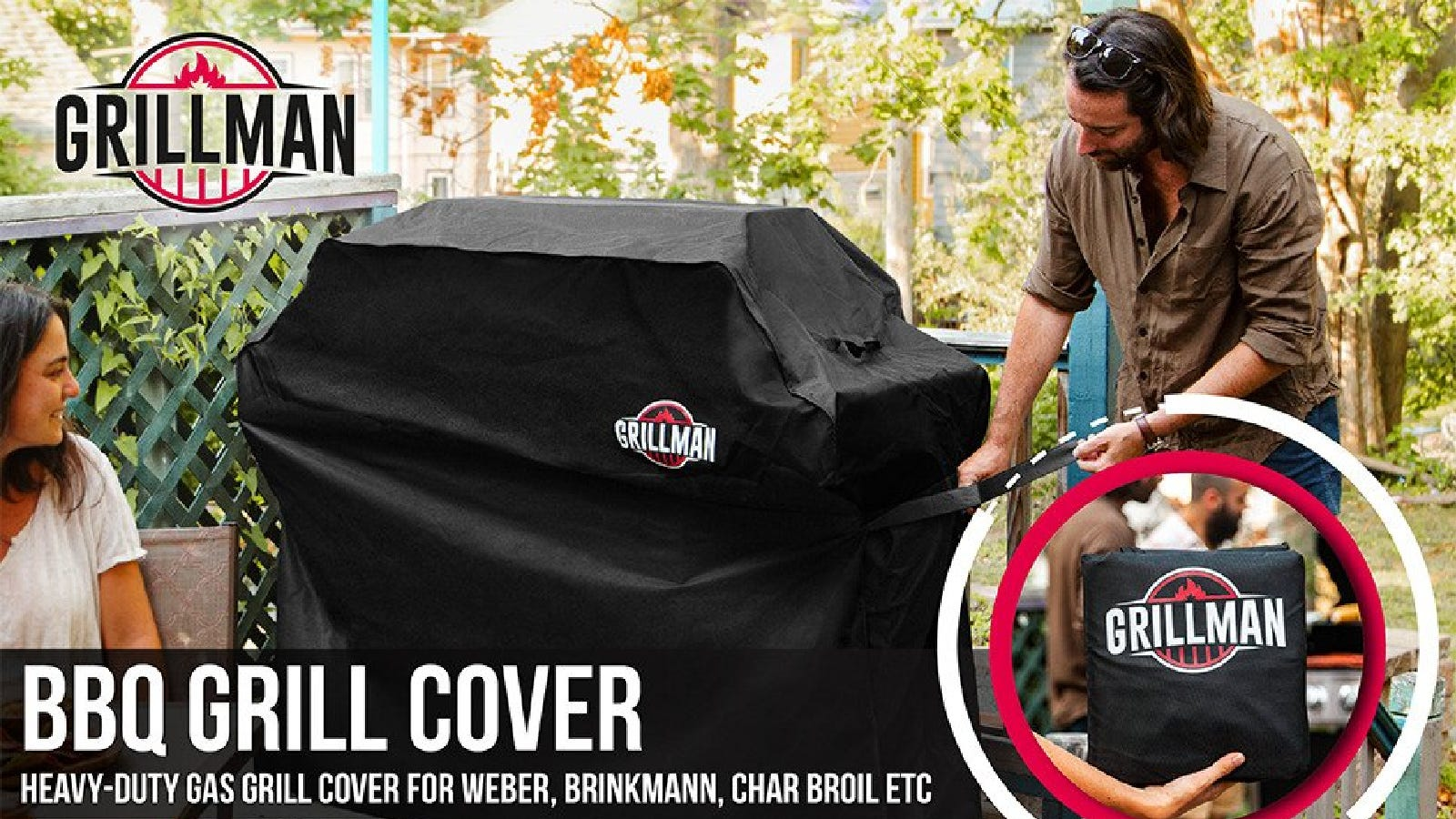 A man placing a Grillman grill cover over his grill, and a smiling woman watching near by.