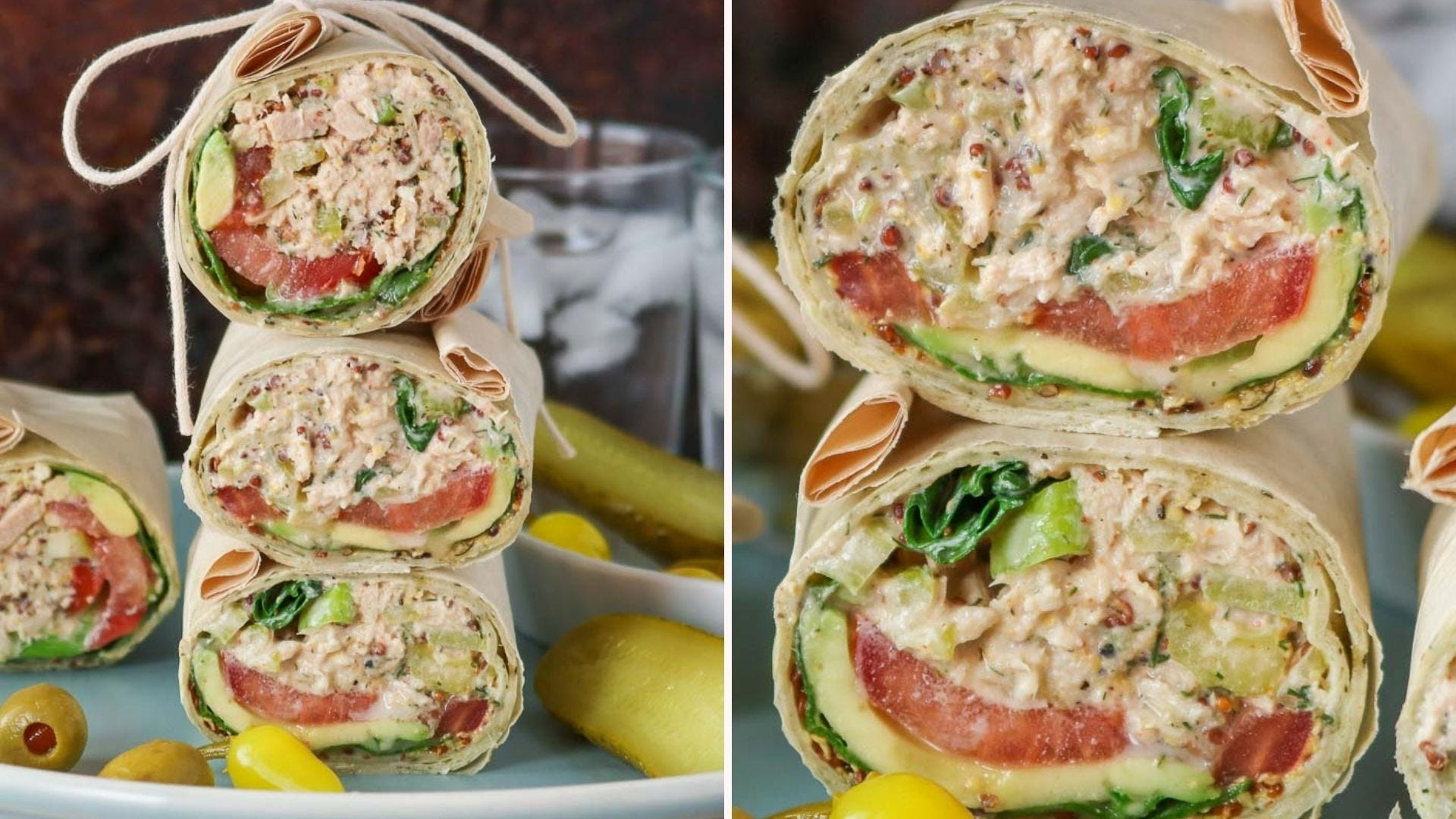 Two images of Greek Yogurt tuna salad, enveloped in a whole grain wrap, stacked high and ready to eat.