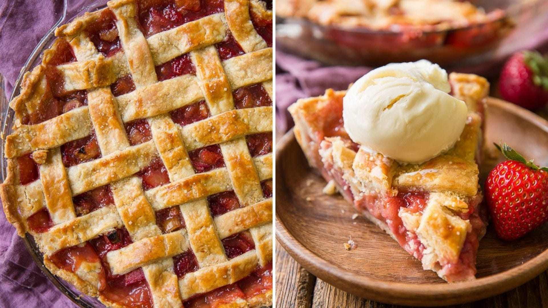A whole strawberry and rhubarb pie and a slice of pie with ice cream on a plate.
