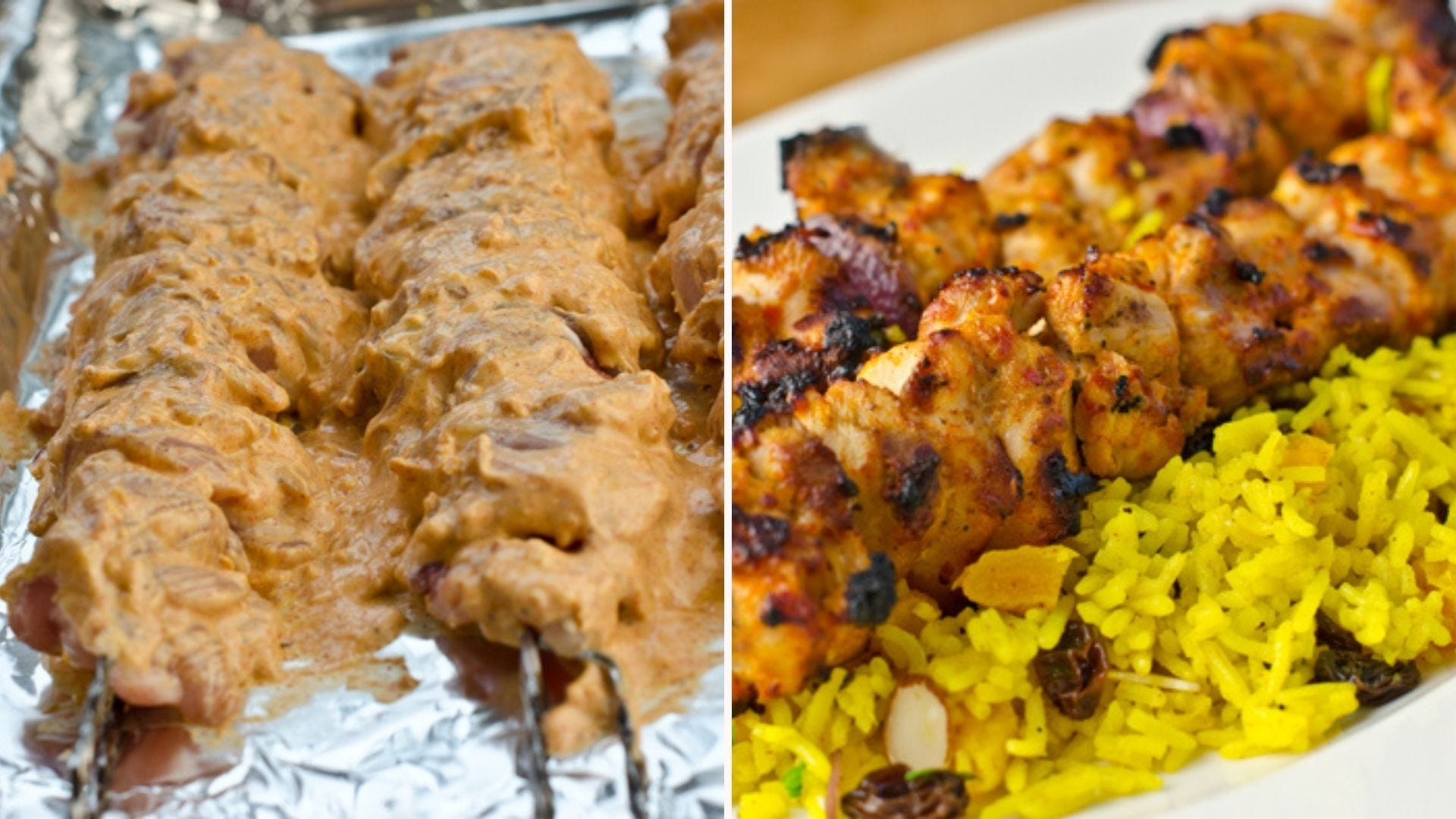 Two images: The left image is of a few raw chicken kebabs marinated with greek yogurt marinade, and the right image is of the same chicken kebabs after being oven roasted, sitting on a bed of raisin rice pilaf.