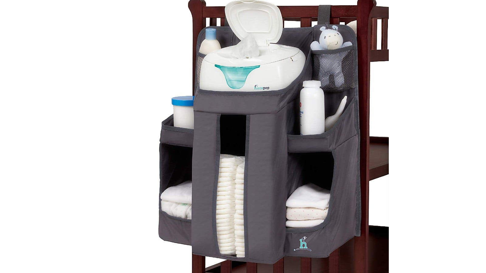gray diaper caddy with diapers, wipes, and creams