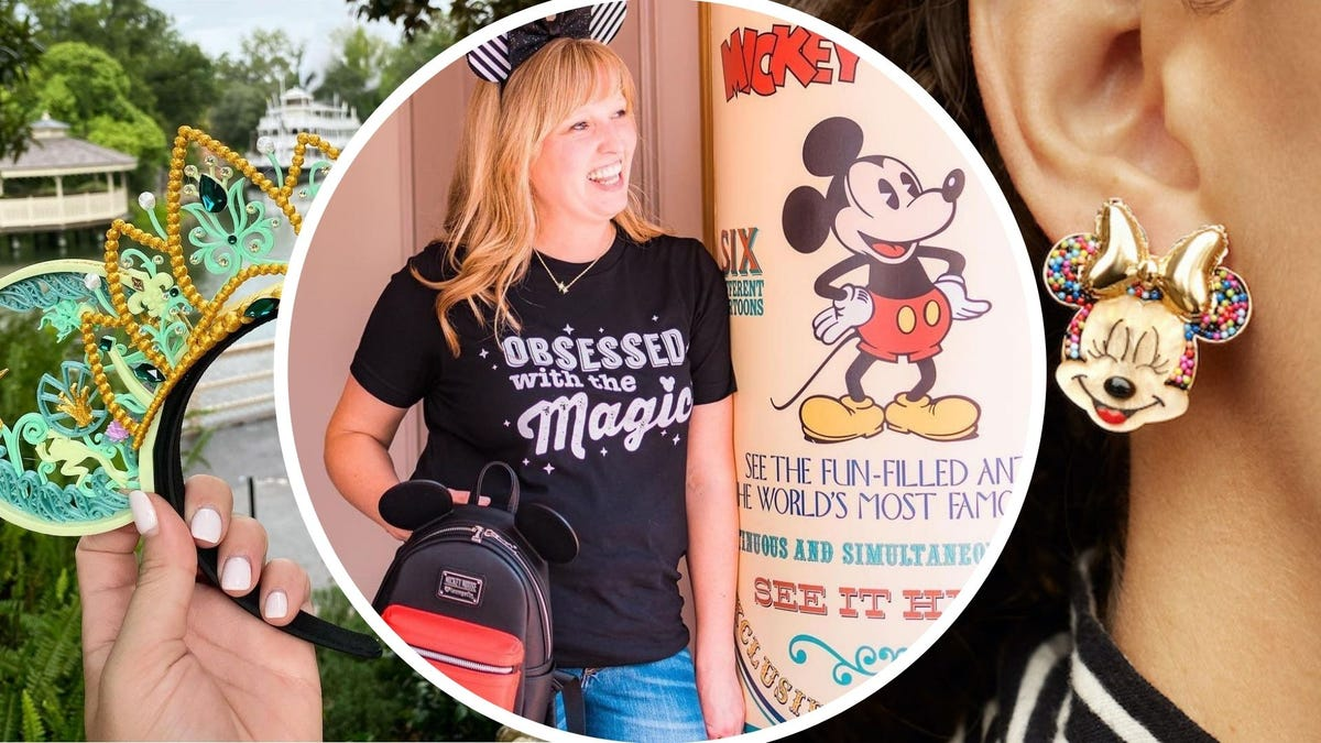 """A pair of mouse ears with green and gold details; a woman in an """"Obsessed with the Magic"""" tee, a Minnie Mouse earring"""