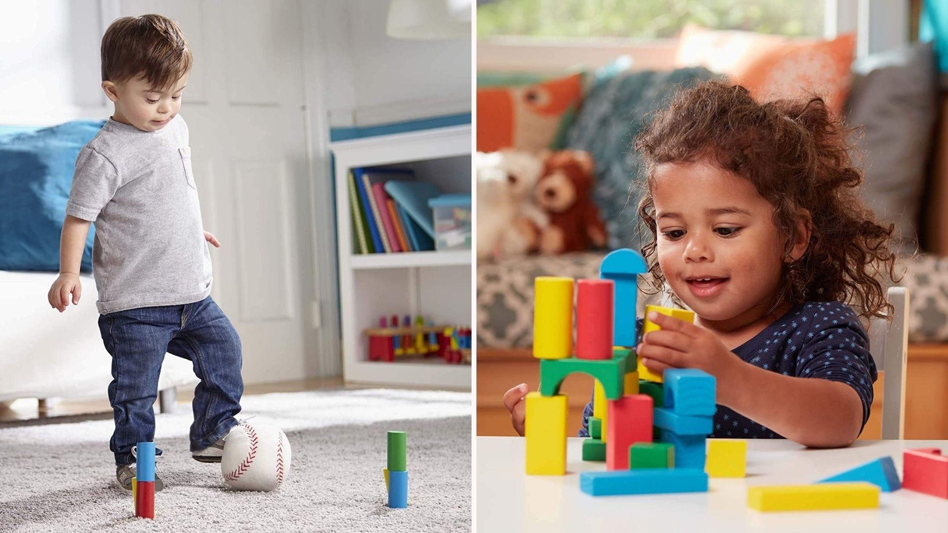 Two images of children playing with Melissa & Doug blocks.