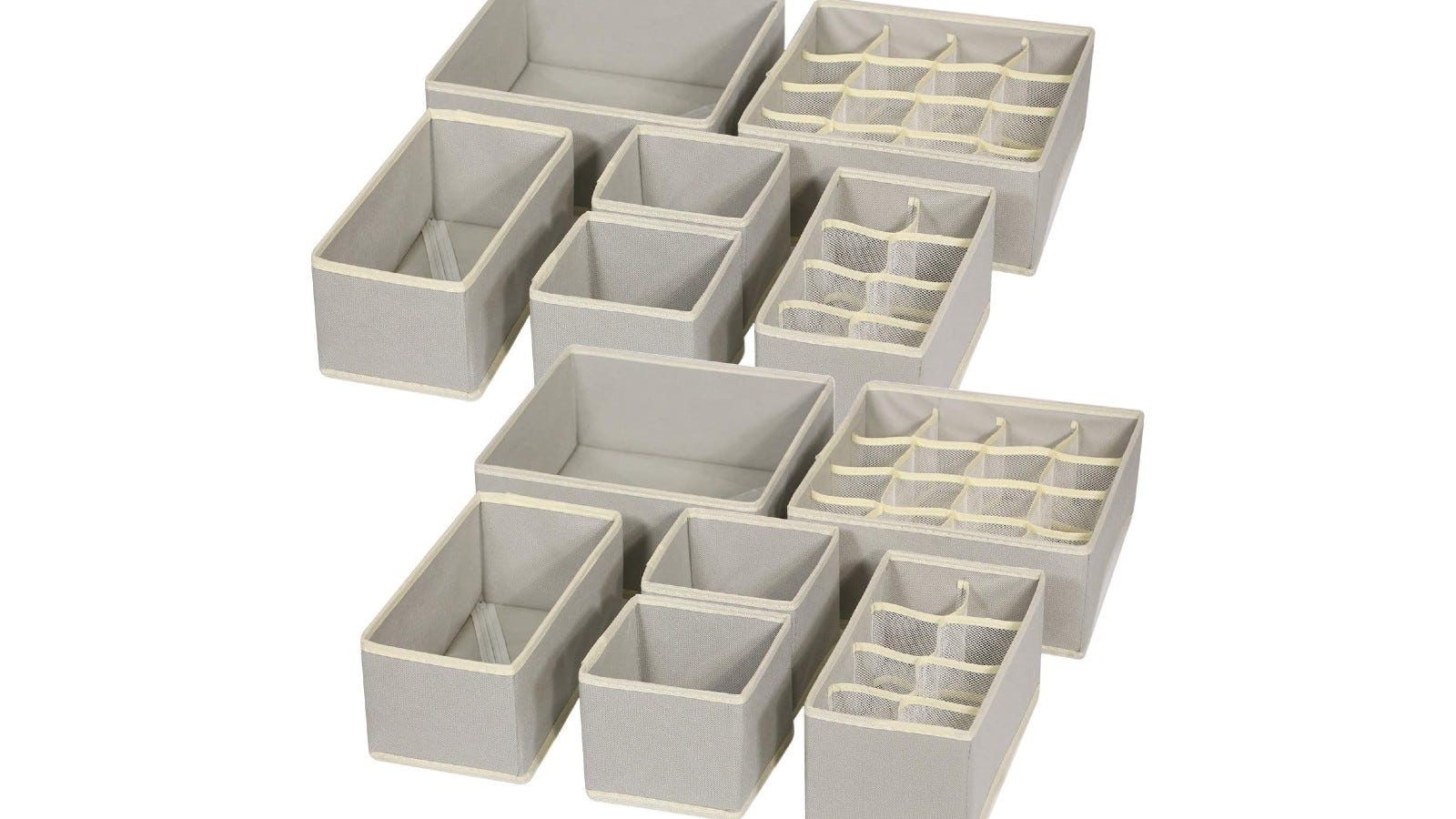 soft gray drawer organizers in different sizes