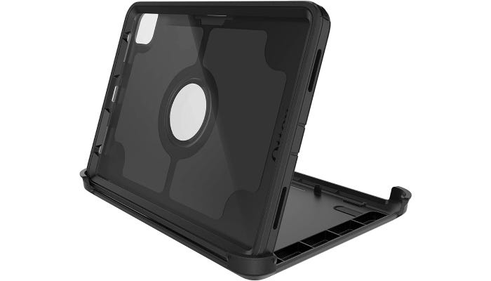 an empty black iPad case that's standing up