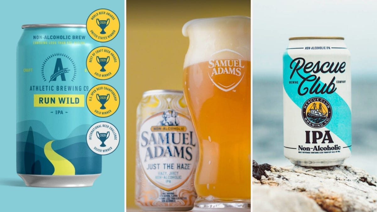Three side by side images of beers listed in the article below. The left image features Athletic Brewing Co. Run Wild IPA, the middle image features Samuel Adams Just the Haze, and the right image features Rescue Club IPA.