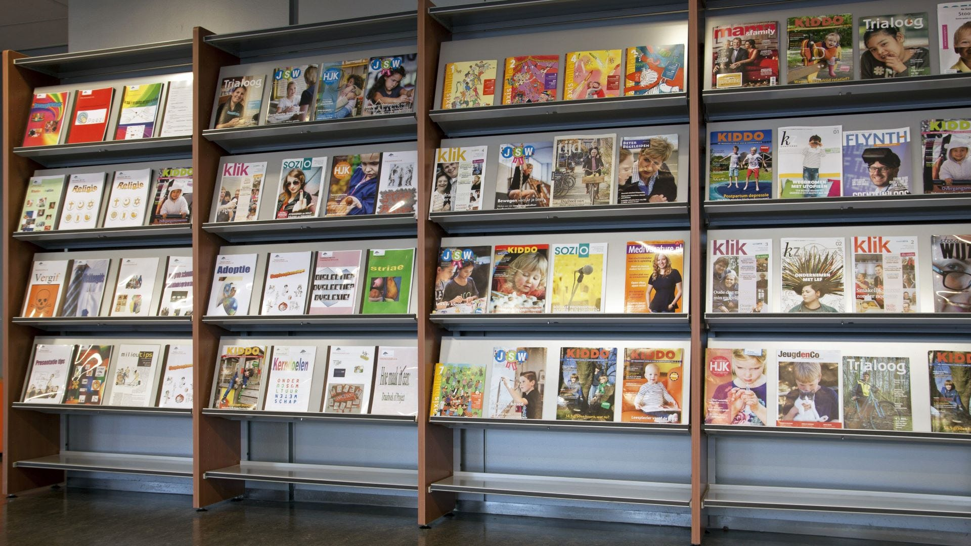 The kids magazine section at a library.