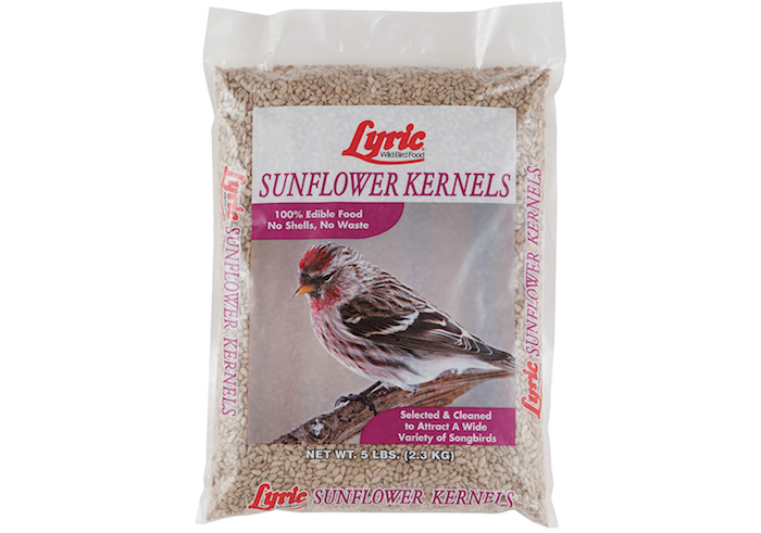 a bag of unshelled sunflower kernels with a picture of a bird on the front