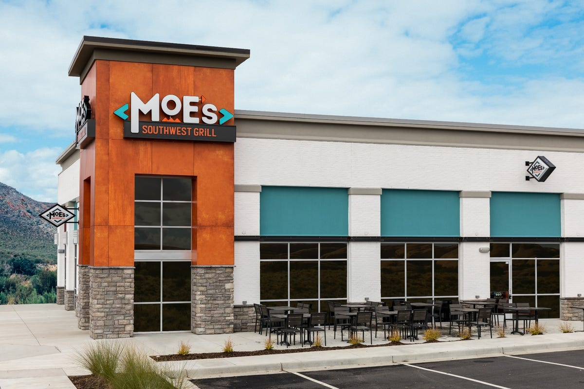 The exterior of a Moe's restaurant.
