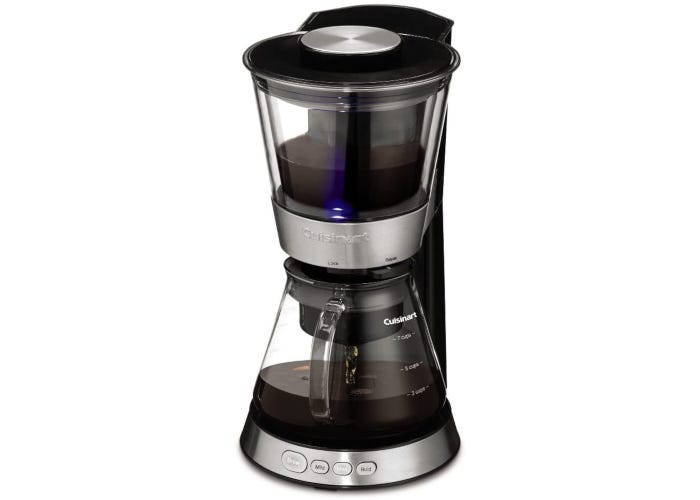Electric cold brew coffee maker with two-tiered design and black plastic and stainless steel construction and a glass carafe.