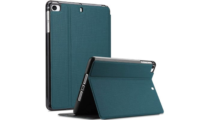 a back view of an iPad with a green case that can stand up