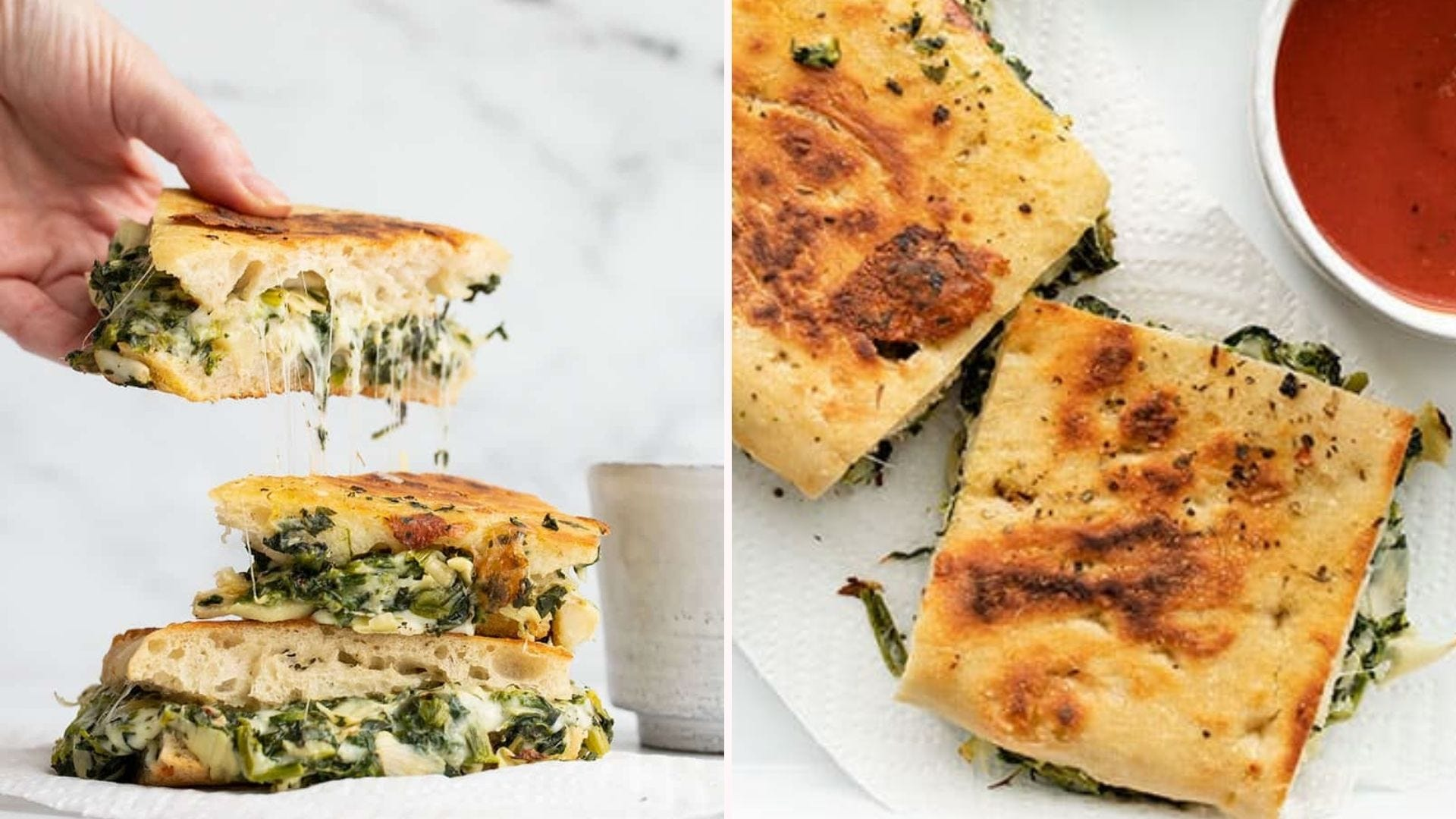 Two side by side images: The left image is someone pulling up a half of a grilled spinach and artichoke sandwich, boasting a gorgeous melty cheese pull, and the right image is of a sandwich sliced in half with a side of marinara.