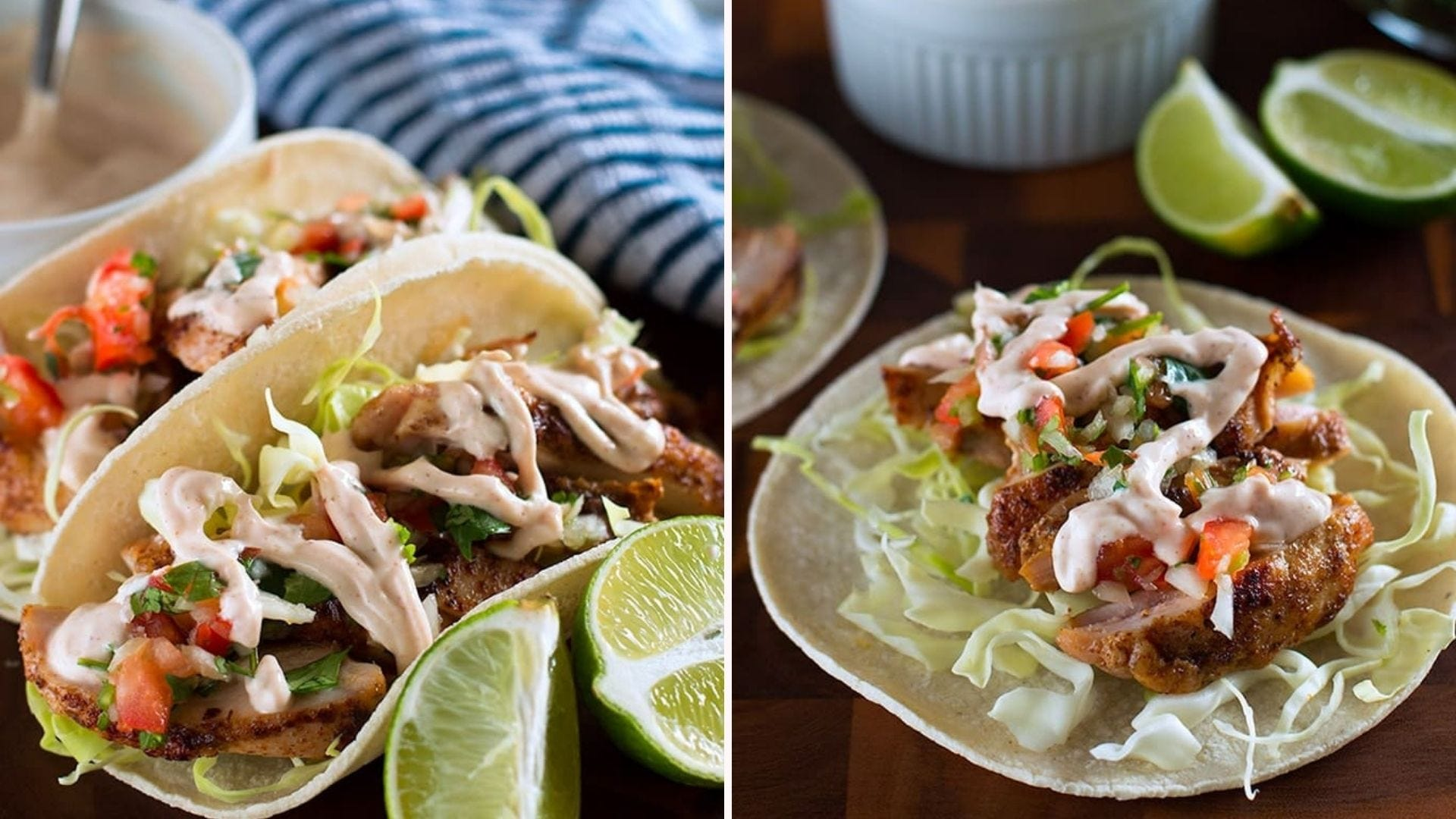 Two side by side images of chicken tacos topped with pico de gallo, lettuce and chipotle crema sauce made with Greek yogurt.