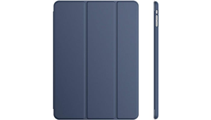 a navy blue iPad case with vertical lines