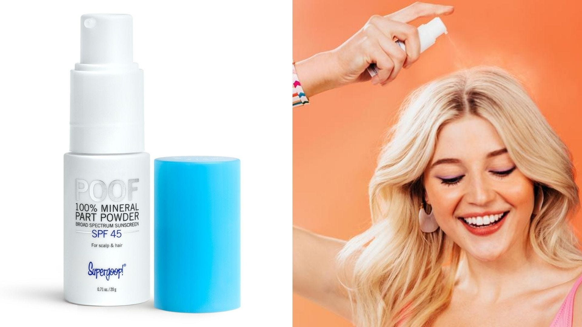 A blue and white bottle of powder sunscreen. A woman sprays it on her head.