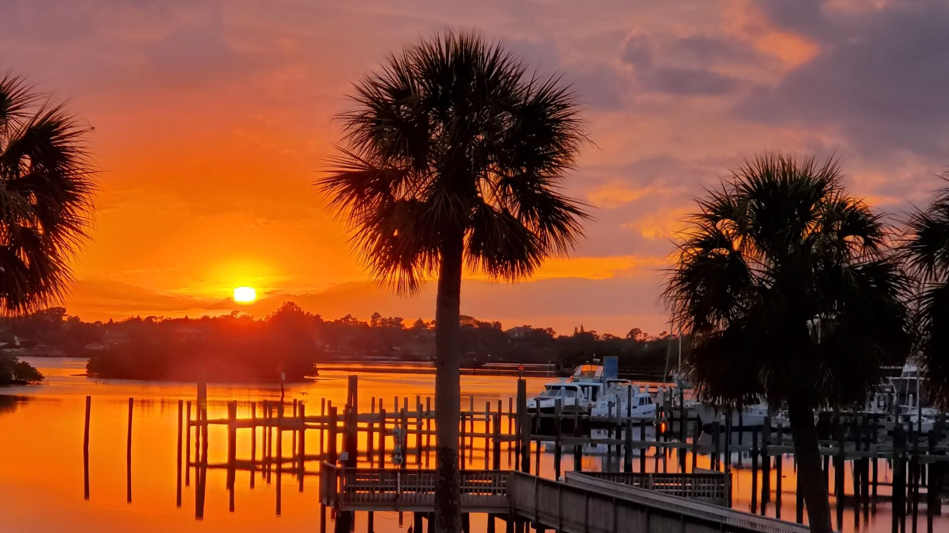 Sunset at the dock in Tarpon Springs, Florida.