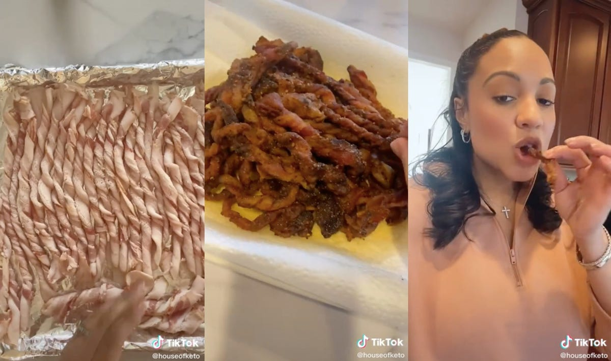 A pan of raw twisted bacon, a batch of baked twisted bacon, and a woman eating a piece.
