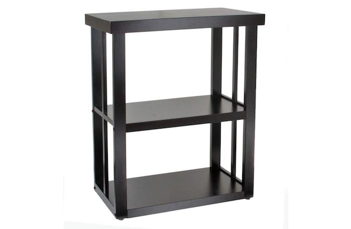 black three-tiered shelf-life aquarium stand