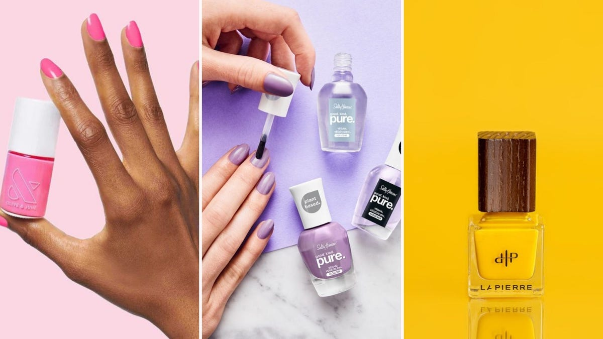A hand holding pink nail polish; a hand painting lavender nails; a bottle of golden yellow nail polish