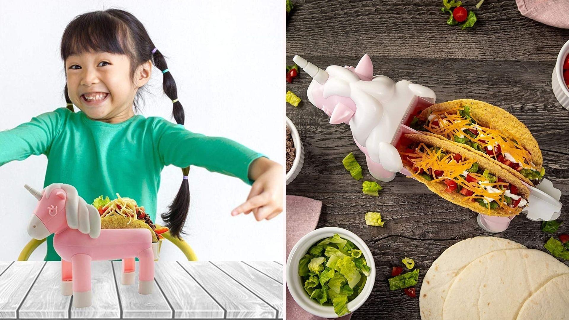 A child enjoying her unicorn taco holder and tacos.