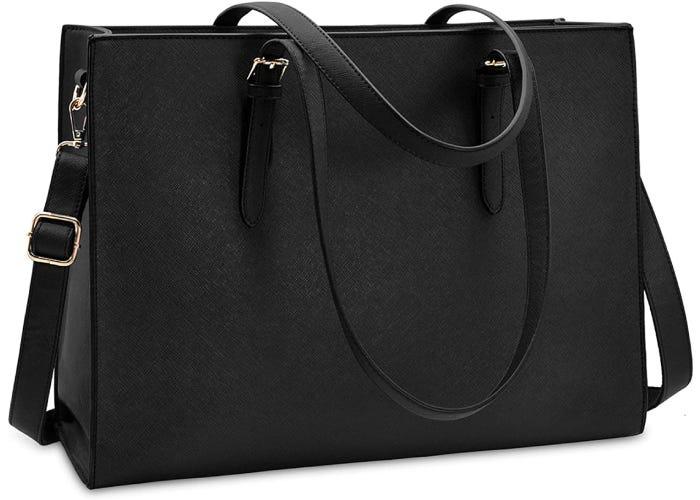 a black leather messenger bag