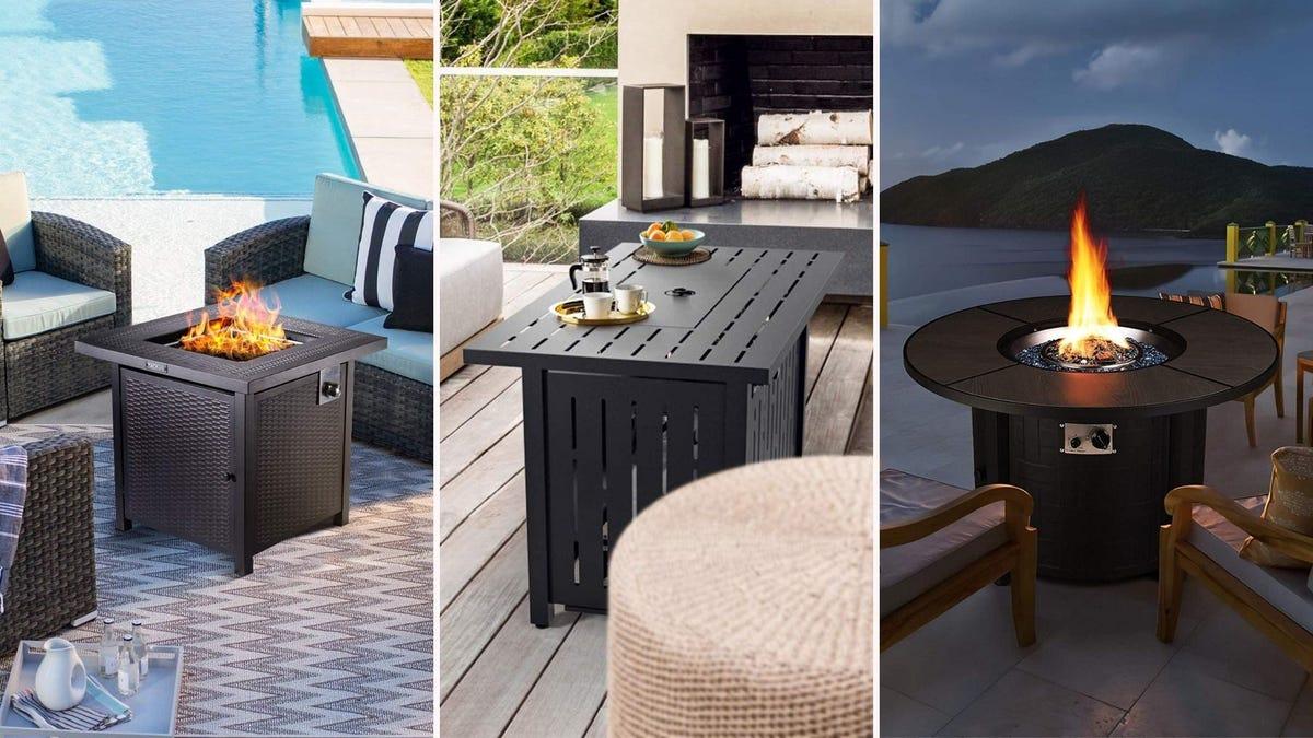 Três imagens lado a lado: a imagem da esquerda é de uma pequena mesa de fogo quadrada da Tacklife, a imagem do meio é de uma pequena mesa de fogo retangular da SNAN, e a imagem da direita é de uma pequena mesa de fogo quadrada da Femor.