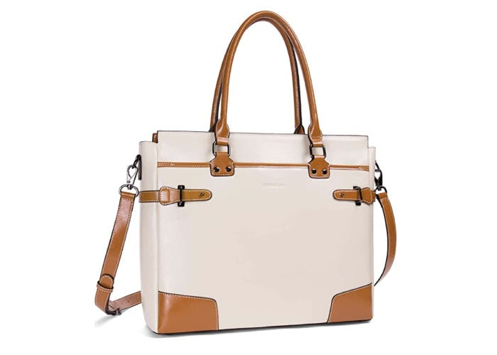 a white and brown leather messenger bag for women