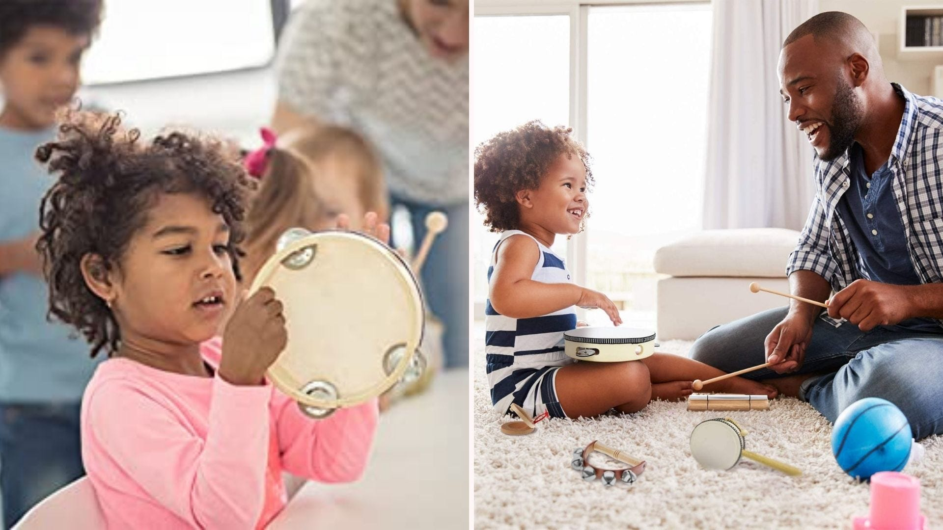 Two images: The left image is of a young girl looking at a tambourine, and the right image is of a young girl playing musical instruments on the floor with her father.