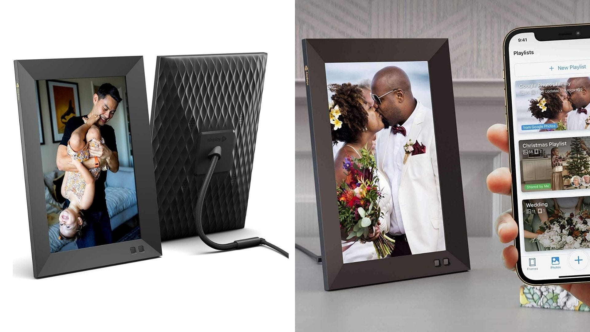 Two photos of a digital picture frame and someone holding a smartphone to the frame.