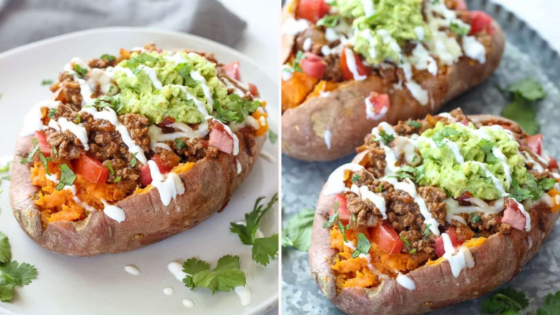 Two images of taco-stuffed sweet potatoes, topped with guacamole, tomatoes, ground beef and sour cream drizzle.