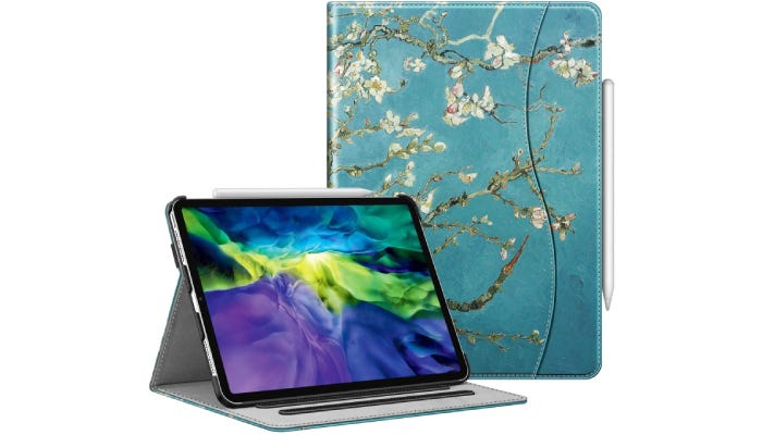an iPad shown in a case standing up with the front view of the turquoise floral-patterned case