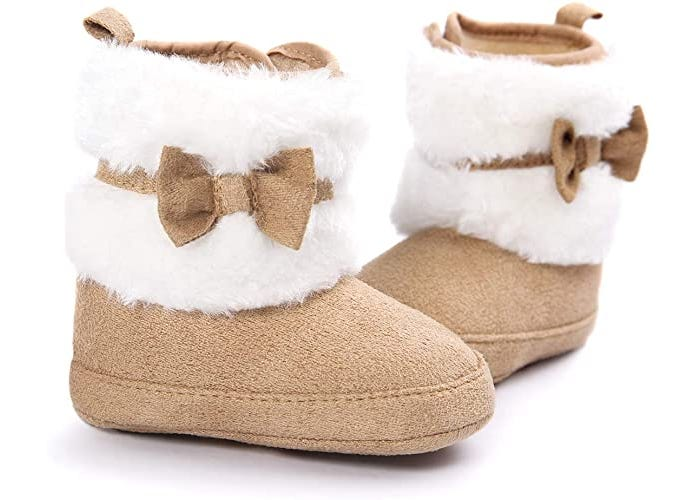 fuzzy white and brown baby girl boots with bow