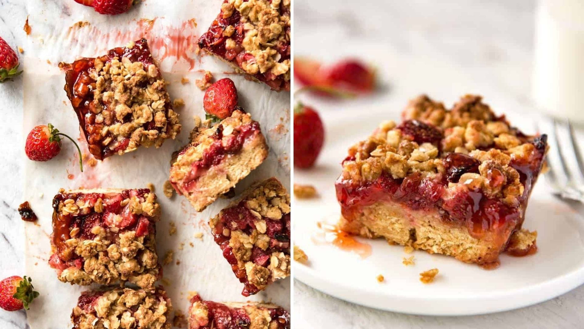 Oat bars with strawberries in the middle.