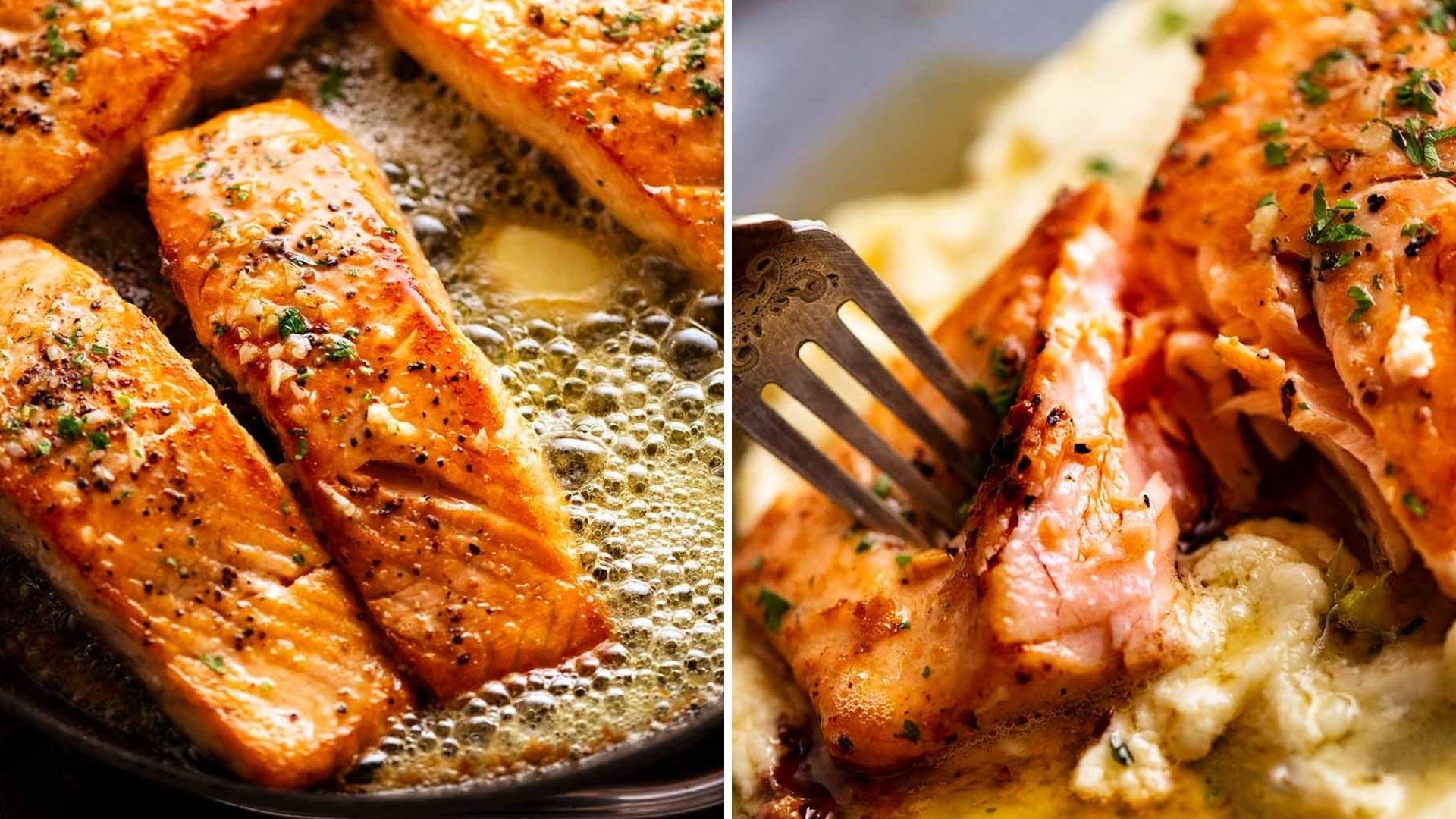 Salmon filets cook in a pan with butter and someone sticks their fork in a piece of salmon.