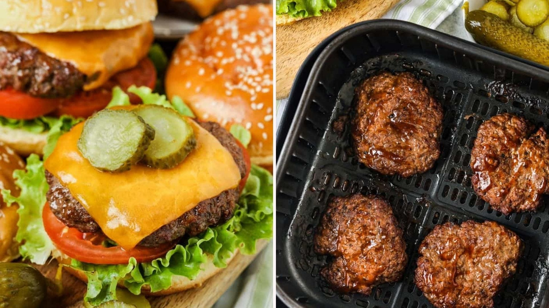 Two side by side images of homemade burgers. The left image is of a put together burger stacked with pickles lettuce and tomatoes, and the right image is of four burger patties that just finished cooking in an air fryer compartment.