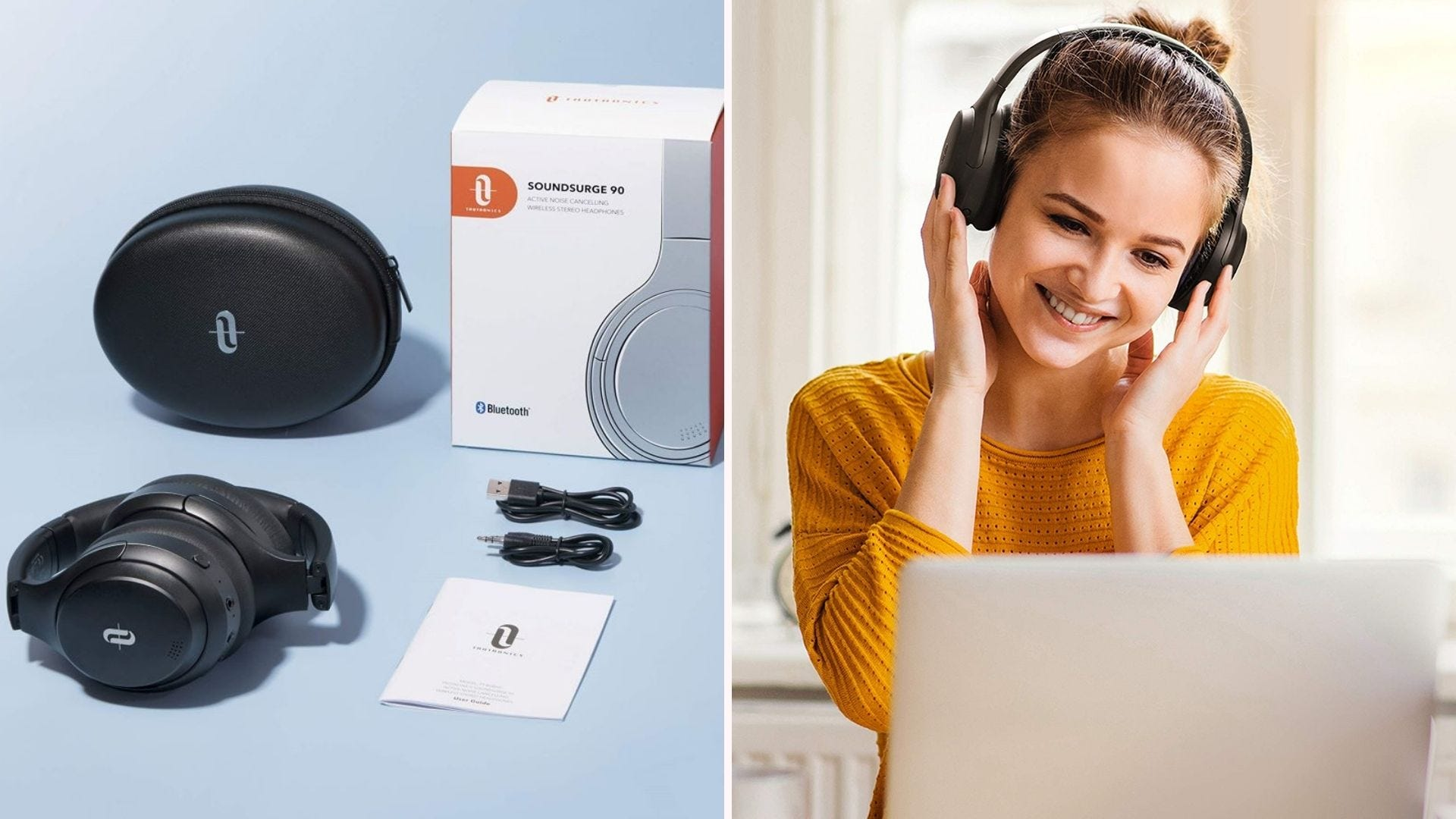 TaoTronics' hybrid active noise canceling headphones with bag, cords and box, and a woman wearing them looking at her laptop.