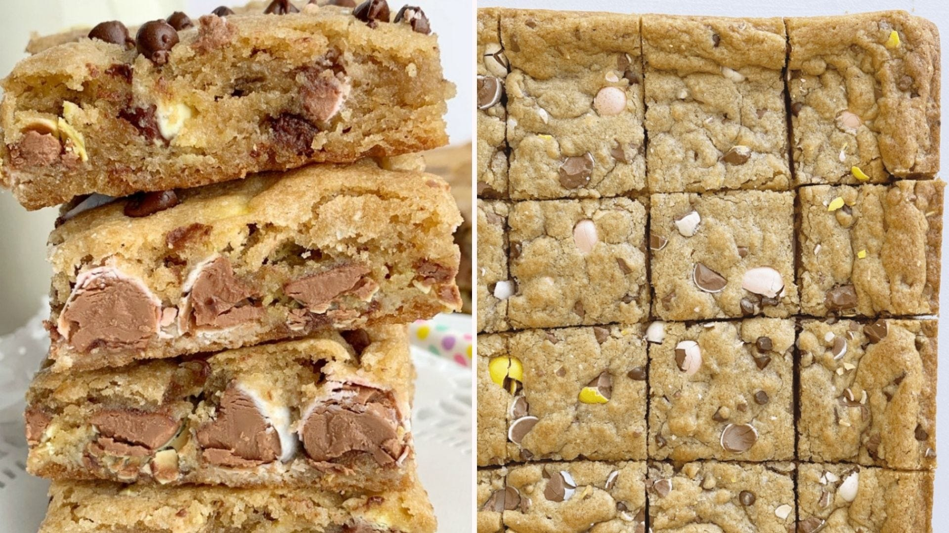 Two images: The left image is of four blondie squares piled high, and the right image is of perfectly cut out blondie squares after being cooled.