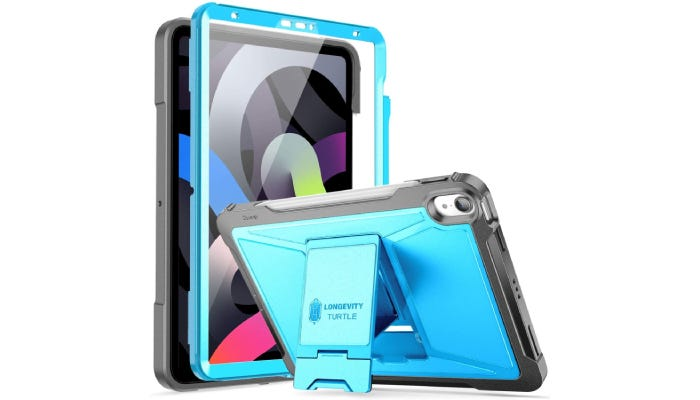 a hard blue iPad case with a stand on the back and a screen cover on the front